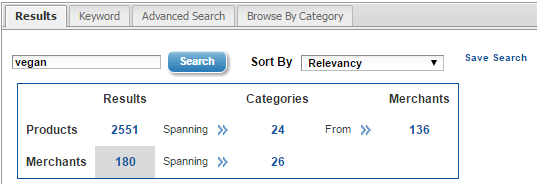 vegan search results