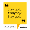 Q4 Thoughts:  Stay gold, Ponyboy.